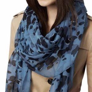 Burberry Scarf Women Animal Print Bluebell Silk